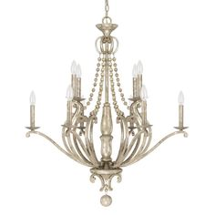 This Adele collection 10-light chandelier features a painted silver quartz finish that will compliment many traditional decors. The unique design as well as the decorative beads add interest to this beautiful piece. $ 733. Overstock