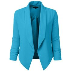 LE3NO Womens Textured 3/4 Sleeve Open Blazer Jacket (CLEARANCE) (97 PEN) ❤ liked on Polyvore featuring outerwear, jackets, blazers, blazer jacket, fleece-lined jackets, shoulder pad blazer, textured blazer and 3 4 length sleeve blazer