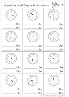 Lernstübchen: Uhrzeiten ablesen - halbe Stunden