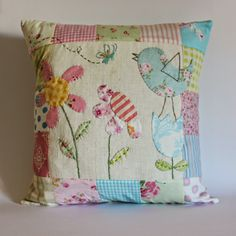 Sweet hand appliequed and quilted cushion @  Roxy Creations