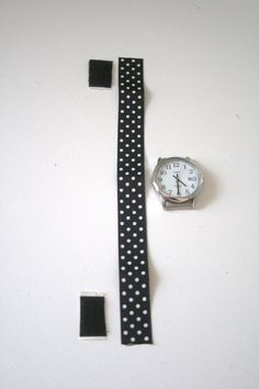 use velcro and ribbon to craft a watchband.