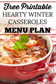 This free printable menu plan is full of 28 hearty winter casseroles recipes. Great for potluck or weeknight dinners after cold days. Freezer meal friendly!