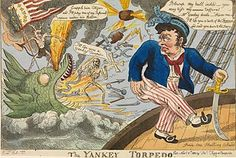 """E-s (artist), Thomas Legg (publisher), The Yankey Torpedo (November 1813), National Maritime Museum This caricature was inspired by the invention of the torpedo by American engineer Robert Fulton, used to devastating effect against the British during the War of 1812 (1812-15). The torpedo is represented by the immeasurable terror of a horrific sea monster, the Devil, and Death. A defiant Jack Tar presents his bottom to the threat, inviting his enemy to """"kiss my–tafferal"""" (part of a ship's…"""