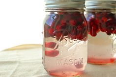 Homemade Cranberry infused vodka.  Great Christmas presents.