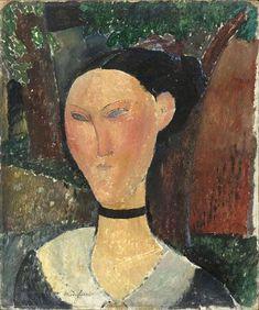 Donna con nastro di velluto