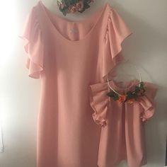 Zestaw peach mama-córka - Ma-LIni - Sukienki dla dziewczynek