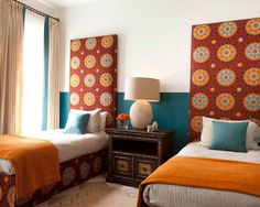 Houzz.com - Eclectic Style - Really love this graphic print and the accent colors of turquoise and gold