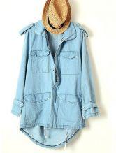 Blue Long Sleeve Epaulet Pockets Trench Coat $39.68