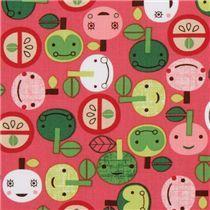 pink kawaii apple fabric with faces Robert Kaufman - Food Fabric - Fabric
