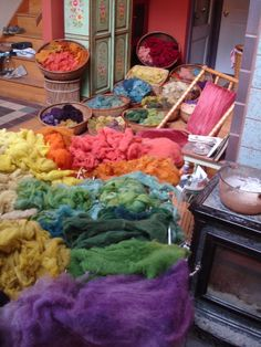 Rainbow wool - all naturally dyed with plants.  She said purple came from fermented poke berries, vinegar mordant was used to make red
