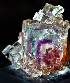 Fluorite with purple phantom / Minerva No. 1 Mine, Cave-in-Rock, Hardin Co., Illinois, From mindat via Harriet Swindell Minerals And Gemstones, Rocks And Minerals, Natural Crystals, Stones And Crystals, Gem Stones, Story Stones, Crystal Magic, Beautiful Rocks, Mineral Stone