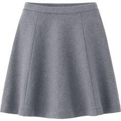 UNIQLO Women Ponte Flare Skirt (830 INR) ❤ liked on Polyvore featuring skirts, light gray, light gray skirt, dressy skirts, skater skirt, fancy skirts and light grey skirt
