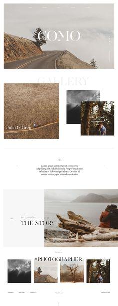 Website Design for Photographers & Videographers Ed Peers Photography Wedding Photography Light bold style kit Flothemes Como Theme Large Bold typography Smooth parallax transitions Layout Design, Design De Configuration, App Design, Site Web Design, Web Layout, Brand Design, Flat Design, Blog Website Design, Design Websites