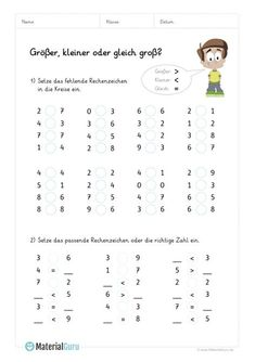 """NEW: Math worksheet on """"Bigger & Smaller"""" for primary school. Math For Kids, Home Schooling, Kindergarten Math, Creative Kids, Primary School, Worksheets, Teaching, Friends Family, Montessori"""