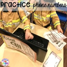Practice phone numbers at the Fire Station dramatic play! It's so much for a fire safety theme or community helpers theme. Preschool Themes, Preschool Classroom, Kindergarten Activities, Preschool Activities, Future Classroom, Classroom Ideas, Human Body Unit, Learning Stations, Dramatic Play Centers