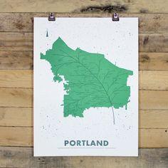 Portland Leaf Map Poster   Holstee