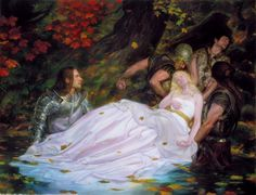 The Lady of Shalott.  The complete poem by Alfred Lord Tennyson is on this site.  (Painting by Donato Giancola)