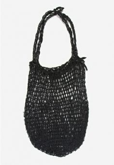 Linen and Leather Open Crochet Basket Bag by Stephanie Nan Olivier