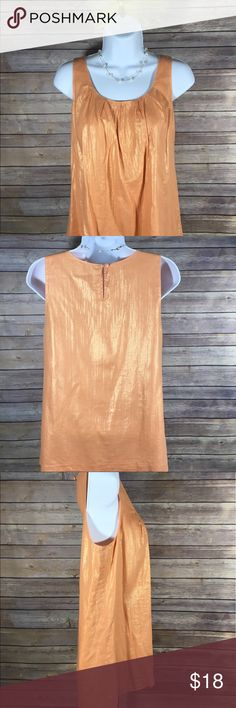 J Crew Womens Orange Metallic Lined Tank Top,  0 J Crew Womens Lined Cotton Sleeveless Tank Top Pleated Front  Keyhole Back Closure Color:  Orange Metallic Size: 0 Top Shoulder to Bottom Hem Measurements:  24 inches Arm to Arm Measurements:  18.5 inches 100% Cotton Made in China RN# 77388 Style:  93551 Excellent Used Condition J. Crew Tops Tank Tops
