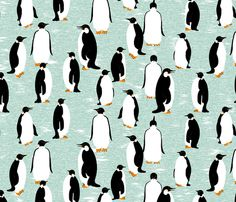 Penguins Go With the Floe - custom fabric by victorialasher on Spoonflower