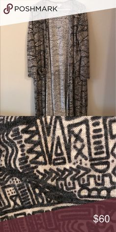 M Sarah LulaRoe - Like New Condition Adorable cream and gray Sarah! Only worn twice! Like new condition! Smoke-free home. Wrong size for me, but so cute! Make me an offer! LuLaRoe Sweaters