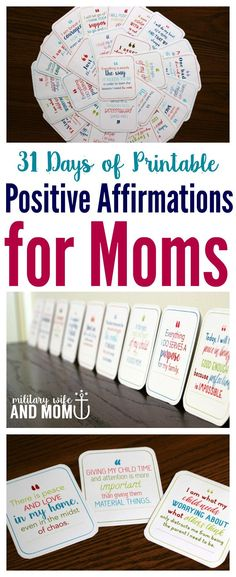 So inspirational and encouraging to see these printable positive affirmations for moms. Love the printable cards!