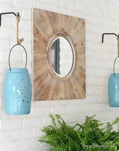 Hang simple lanterns as an outdoor focal point. We love the beautiful blue color on these!