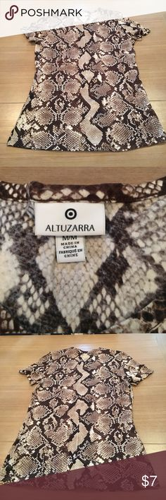 Snake Skin Printed Altuzarra Top Sz M Short sleeve tee from the Altuzarra Collection at Target. Worn once and washed with tide. Snake 🐍 skin like print. Altuzarra Tops Tees - Short Sleeve