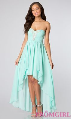 Tween dresses strapless long   Strapless High Low Dress for Homecoming