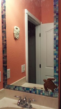 DIY Mosaic Tiled Bathroom Mirror: I Got An Assorted Box Of Backsplash Glass  Tiles And
