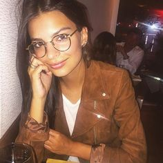 Oversize glasses and barely there makeup are a match made in geek-chic heaven.  zackswimsmm.tk