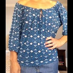 Joie Pattern Peasant Top Super soft.  Ties around the neck for adjustability.  Too big for me! Joie Tops