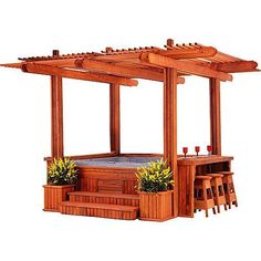 Cabana Spa Gazebo for Hot Tub - it would fit in my backyard & I'll bet my DH could build it...