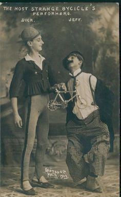 """Postcard featuring """"The Most Strange Bicycle Performers"""" circus microcyclists c. 1920s"""