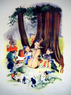 50s FOREST ORCHESTRA ELF Print by sandshoevintageprint on Etsy