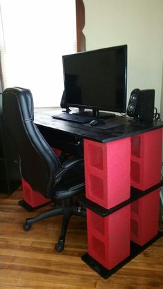 DIY Cinder Block Computer Desk made by my lovely fiancé ...it's a great sturdy desk we ordered a red mouse and that gives it an extra pop !