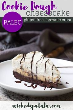"Paleo Cookie Dough Brownie Paleo ""Cheesecake"" by Wicked Spatula. Healthy Chocolate Desserts, Paleo Sweets, Paleo Dessert, Gluten Free Desserts, Dessert Recipes, Paleo Chocolate, Dairy Free Cheesecake, Healthy Cheesecake, Cheesecake Recipes"