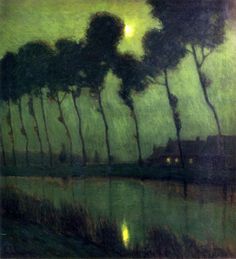 Charles Warren Eaton, Brujas a la luz de la luna, 1910. Óleo sobre lienzo, 91.44 x 76.2 cm, Colección particular