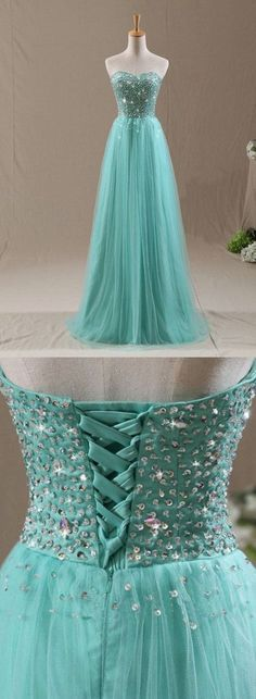Shiny Sweetheart Long Turquoise Bridesmaid Dress,   Tiffany Blue Wedding party Dresses with Beading Lace-up #TiffanyBlueWeddings