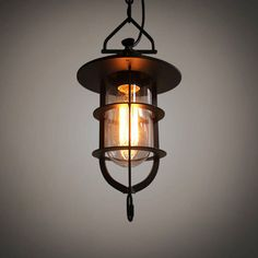 Lamps, Lighting Fashion Style Vintage Industrial Pendant Light With Amber Glass Shade Relieving Rheumatism Collectibles