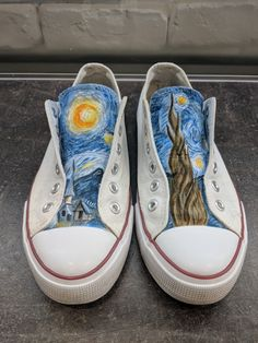 83673eb28ebb Van Gogh Starry Night painted sneakers. Painted ConversePainted SneakersPainted  ShoesVan ...