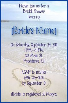 Beach Bridal Shower Invitations via Etsy