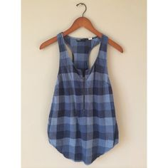 Urban Outfitters Navy Blue Racerback Top A casual and comfortable navy blue, plaid, racerback tank top with an adjustable bronze zipper in the front. Gently worn. The tag says it's an XS, but I would consider it a small. Urban Outfitters Tops