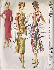 VINTAGE 50s COCKTAIL DRESS SEWING PATTERN MCCALL'S 3755 SIZE 14 BUST 34 HIP 36 CUT | eBay