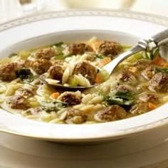 Italian Wedding Soup (use your fav sausage - spicy turkey is yum; And, use other greens in addition or to replace spinach)