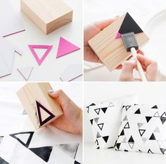15 Creative DIY Stamps For Fabric And More - Useful DIY Projects 15 Creative DIY Stamps For Fabric And More-usefuldiyprojects Diy Stamps, Foam Stamps, Handmade Stamps, Motifs Aztèques, Fabric Stamping, Foam Sheets, Simple Shapes, Fabric Painting, Pillow Covers