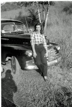 c.1950, young woman poses with car