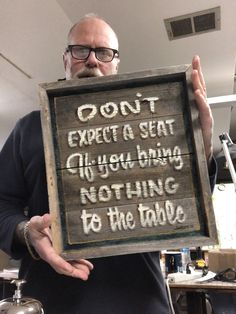 """Excited to share this item from my shop: Hand painted Garage art """"Don't expect a seat"""" sign, vintage barn siding frame Diy Garage Work Bench, Garage Art, Painted Signs, Hand Painted, Barn Siding, Scripture Signs, Christian Verses, Sign Writing, Pinstriping"""