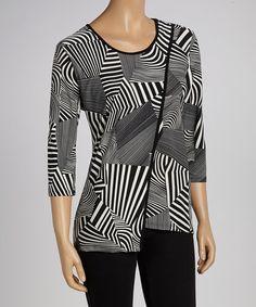 Love this Black & White Geometric Three-Quarter Sleeve Top - Women & Plus on #zulily! #zulilyfinds