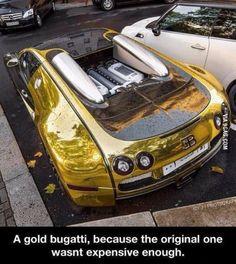 Seriously! A Gold Bugatti